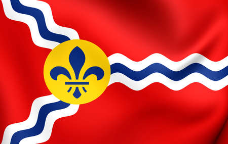 louis: Flag of St. Louis, USA. Close Up. Stock Photo