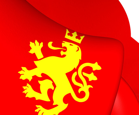 macedonian: Ethnic Macedonian Lion Flag. Close Up.