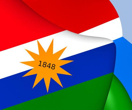 costa rican flag: Flag of Puntarenas, Costa Rica. Close Up.