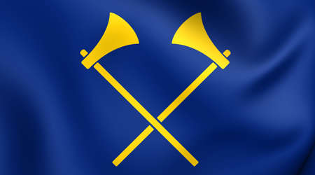 bailiwick: Flag of Saint Helier, Jersey. Close Up.