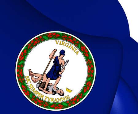 3d virginia: Flag of Virginia, USA. Close Up.
