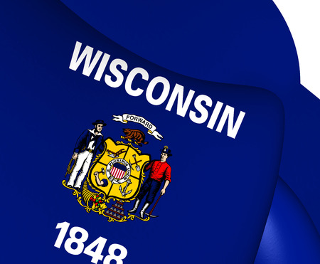 wisconsin: Flag of Wisconsin, USA. Close Up.