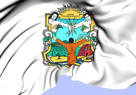baja california: Flag of Baja California, Mexico. Close Up. Stock Photo