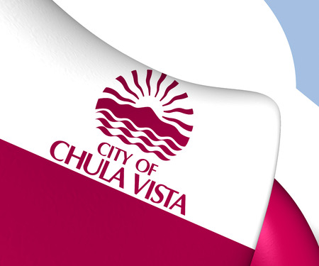 vista: Flag of Chula Vista, USA. Close Up.