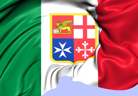 chorąży: Civil Ensign of Italy. Close Up.