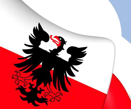 municipality: Flag of Deventer, Netherlands. Close Up.