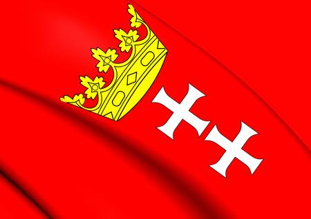 gdansk: Flag of Gdansk, Poland. Close Up.