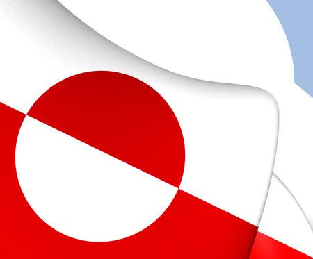 greenland: Flag of Greenland. Close Up. Stock Photo