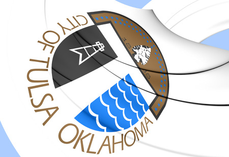 tulsa: Flag of Tulsa, USA. Close Up.