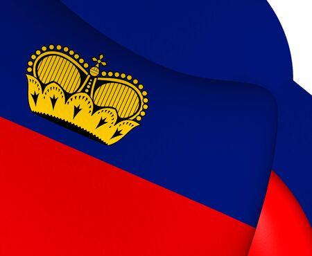 liechtenstein: Flag of Liechtenstein. Close Up. Stock Photo