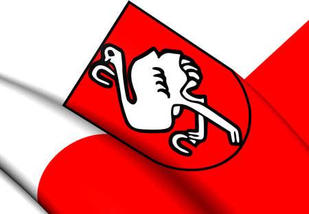 steiermark: Flag of Leoben, Austria. Close Up.