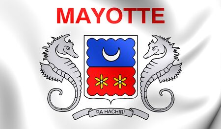 collectivity: Department of Mayotte Flag. Close Up. Stock Photo