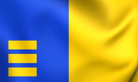 limburg: Flag of Meijel, Netherlands. Close Up.