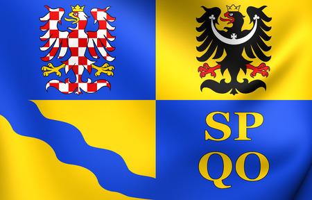 region: Flag of Olomouc Region, Czech Republic. Close Up.