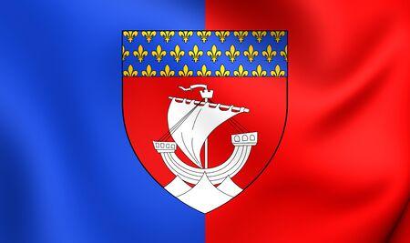 blason: Flag of Paris, France. Close Up. Stock Photo