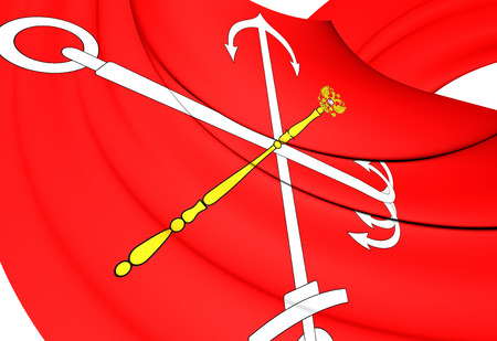 petersburg: Flag of Saint Petersburg, Russia. Close Up. Stock Photo