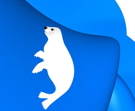 norway: Flag of Salangen, Norway. Close Up.