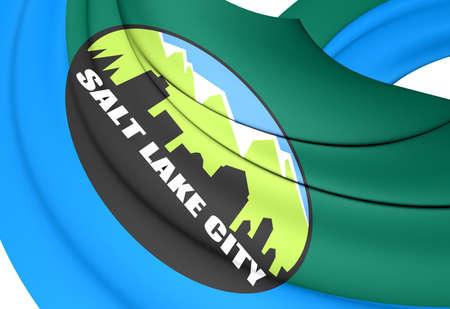 salt lake city: Flag of Salt Lake City, USA. Close Up. Stock Photo