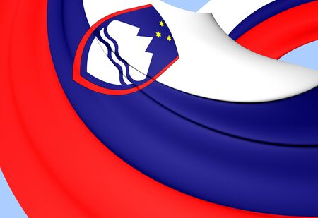 slovenia: Flag of Slovenia. Close Up.