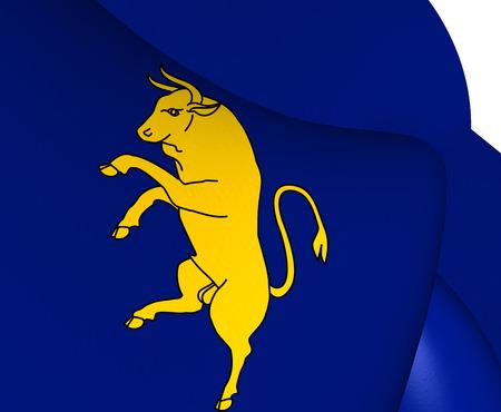 turin: Flag of Turin, Italy. Close Up.