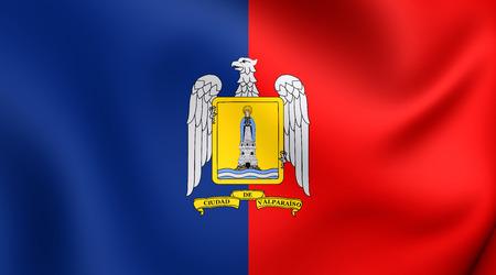 chile: Flag of Valparaiso, Chile. Close Up. Stock Photo