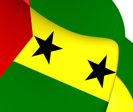 tome: Flag of Sao Tome and Principe. Close Up. Stock Photo