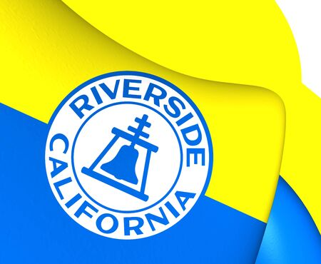 riverside county: Flag of Riverside, USA. Close Up. Stock Photo
