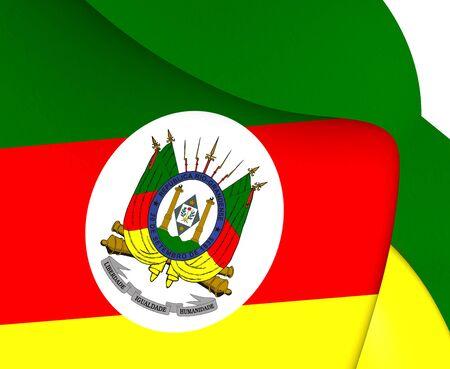 up do: Flag of Rio Grande do Sul, Brazil. Close Up.