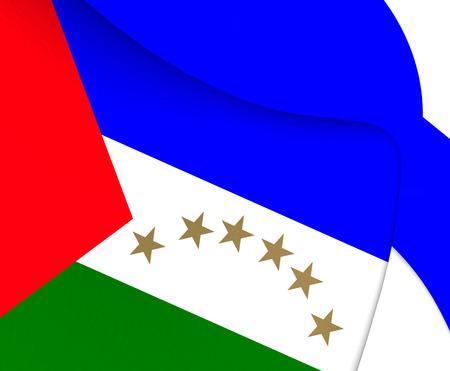 sur: Region Autonoma del Atlantico Sur Flag, Nicaragua. Close Up.