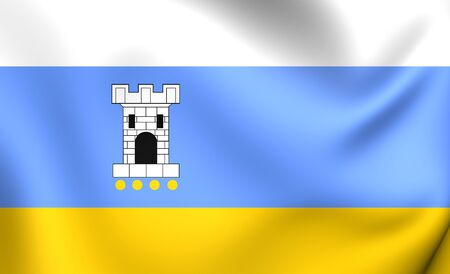 wielkopolskie: Flag of Pleszew City, Poland. Close Up. Stock Photo