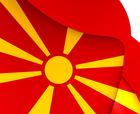 former: Flag of Macedonia. Close Up.