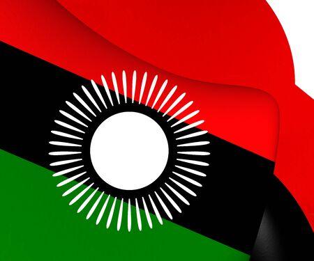 malawian: Flag of Malawi (2010-2012). Close Up. Stock Photo