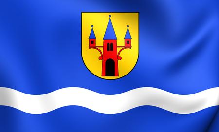 nad: Flag of Naklo nad Notecia, Poland. Close Up. Stock Photo