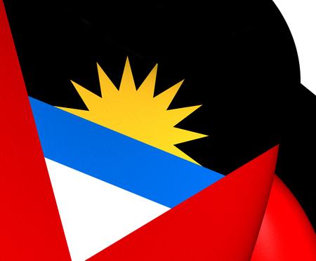 barbuda: Flag of Antigua and Barbuda. Close Up.