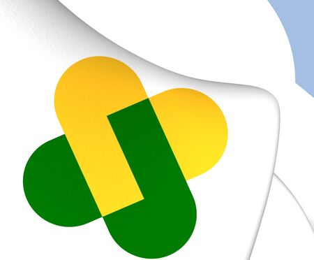 champagne region: Flag of Champagne-Ardenne, France. Close Up. Stock Photo