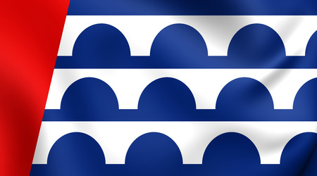 warren: Flag of Des Moines, USA. Close Up.