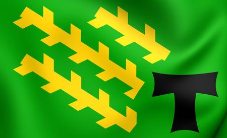 els: Flag of Els Pallaresos, Spain. Close Up.