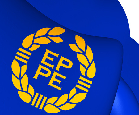 parliament: Flag of European Parliament (1973-1983). Close Up.