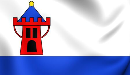 wielkopolska: Flag of Koscian, Poland. Close Up.