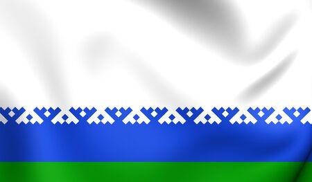 autonomous: Flag of Nenets Autonomous Okrug, Russia. Close Up.