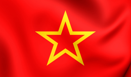 Red Army Flag. Close Up.