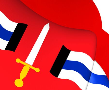 europe closeup: Flag of Reimerswall, Netherlands. Close Up.