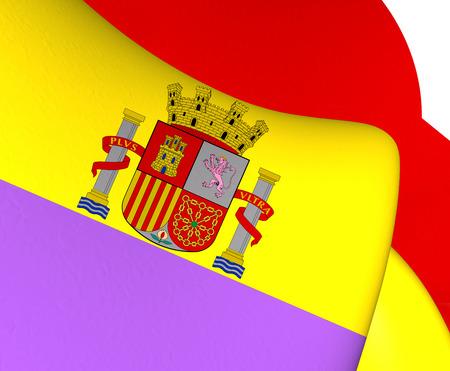 europe closeup: Flag of Second Spanish Republic. Close Up. Stock Photo