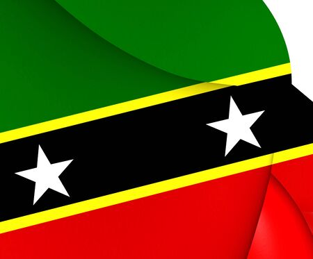 the federation: Federation of Saint Kitts and Nevis Flag. Close Up.