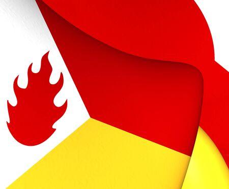 wallonie: Flag of Tintigny, Belgium. Close Up.