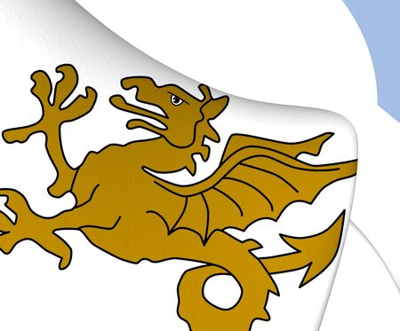 wyvern: Kingdom of Wessex 3D Flag. Close Up. Stock Photo