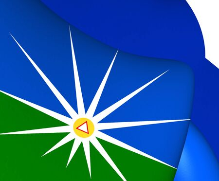 flutter: 3D Flag of Uberlandia, Brazil. Close Up.