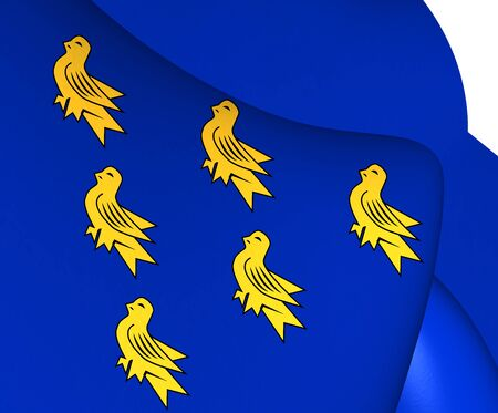 sussex: 3D Flag of the Sussex. Close Up.
