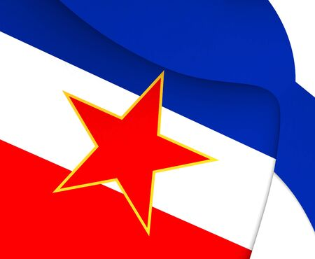 yugoslavia federal republic: 3D Flag of the Yugoslavia. Close Up. Stock Photo