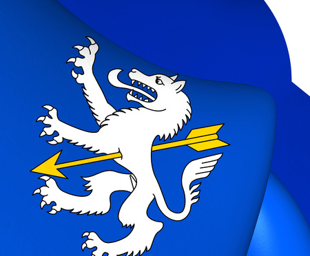 canton: 3D Flag of Wolfenschiessen, Switzerland. Close Up.